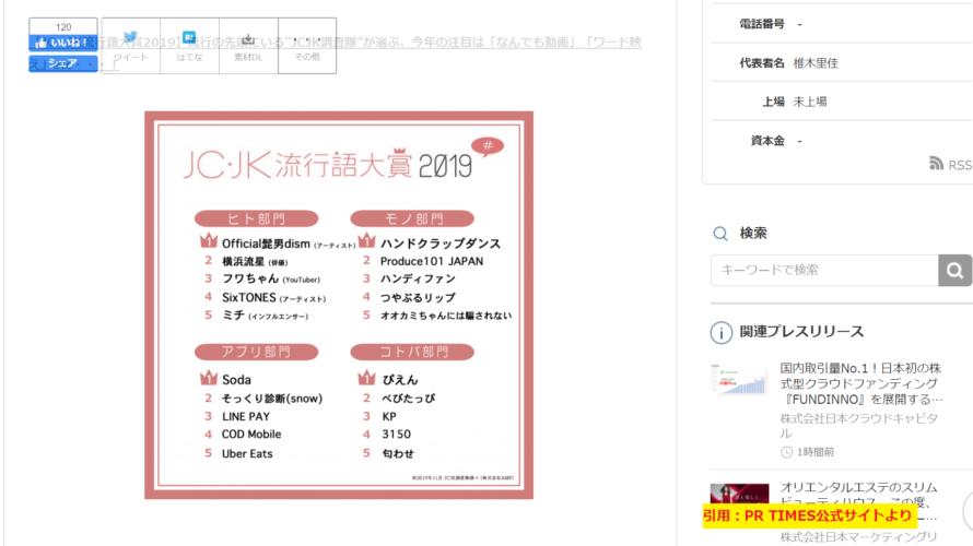 2019年のJC・JK流行語大賞 「アプリ」部門